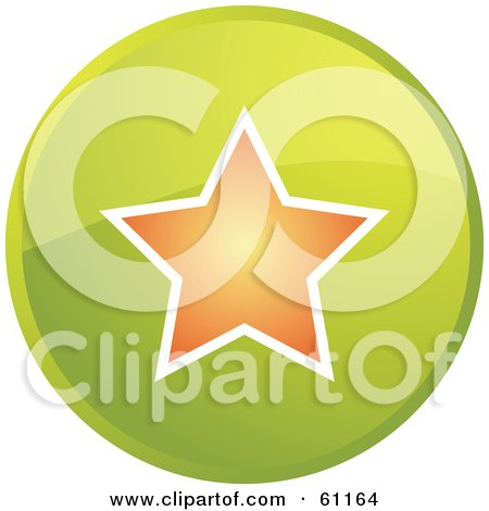 Royalty-free (RF) Clipart Illustration of a Round Green Favorite Internet Browser Button by Kheng Guan Toh