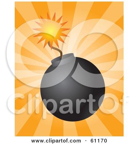 Lit Black Bomb With A Burning Fuse On A Bursting Orange Background Posters, Art Prints