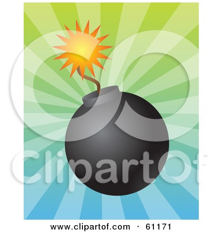 Lit Black Bomb With A Burning Fuse On A Bursting Gradient Background Posters, Art Prints