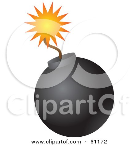 Lit Black Bomb With A Burning Fuse On A White Background Posters, Art Prints