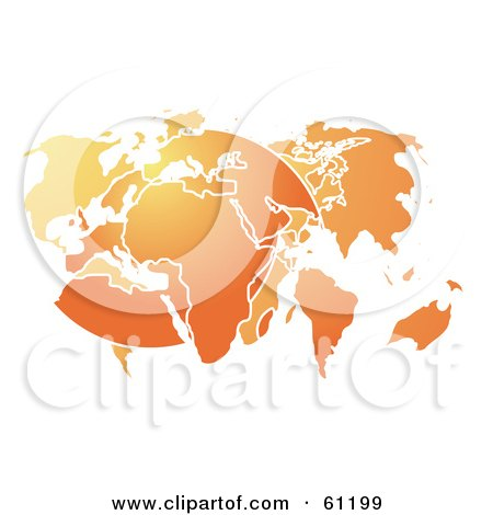 Royalty-free (RF) Clipart Illustration of a Curving Orange Atlas Map Over A White Background by Kheng Guan Toh
