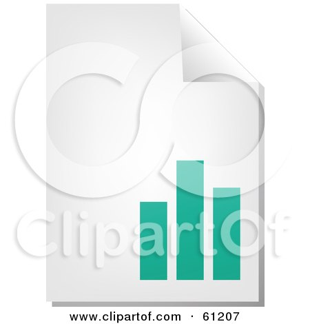 Royalty-free (RF) Clipart Illustration of a Curling Page Of A Teal Bar Graph Business Document by Kheng Guan Toh