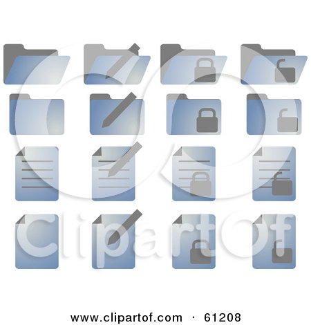 Royalty-free (RF) Clipart Illustration of a Digital Collage Of Blue Folder And Word Document Icons by Kheng Guan Toh