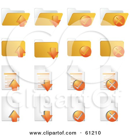 Royalty-free (RF) Clipart Illustration of a Digital Collage Of Orange Word Document Icons by Kheng Guan Toh