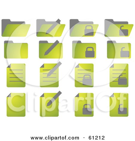 Royalty-free (RF) Clipart Illustration of a Digital Collage Of Green Folder And Word Document Icons by Kheng Guan Toh
