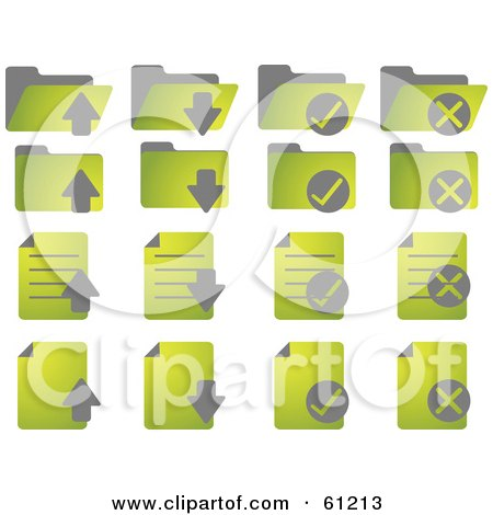 Royalty-free (RF) Clipart Illustration of a Digital Collage Of Green Word Document Icons by Kheng Guan Toh