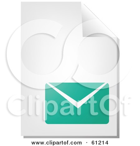 Royalty-free (RF) Clipart Illustration of a Curling Page Of A Teal Envelope Business Document by Kheng Guan Toh