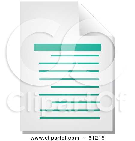 Royalty-free (RF) Clipart Illustration of a Curling Page Of A Teal Word Business Document - Version 1 by Kheng Guan Toh