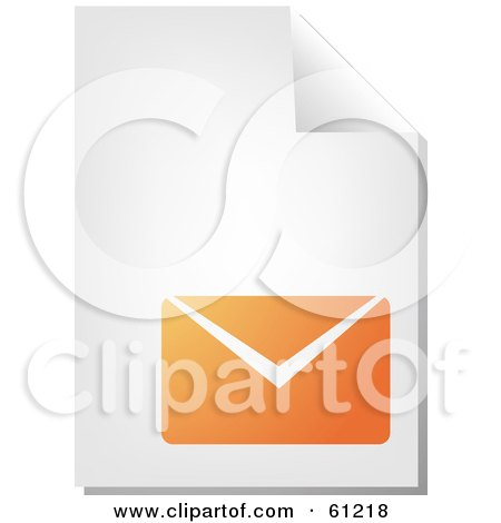 Royalty-free (RF) Clipart Illustration of a Curling Page Of An Orange Envelope Business Document by Kheng Guan Toh