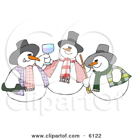 Three Snowmen Drinking and Toasting Posters, Art Prints