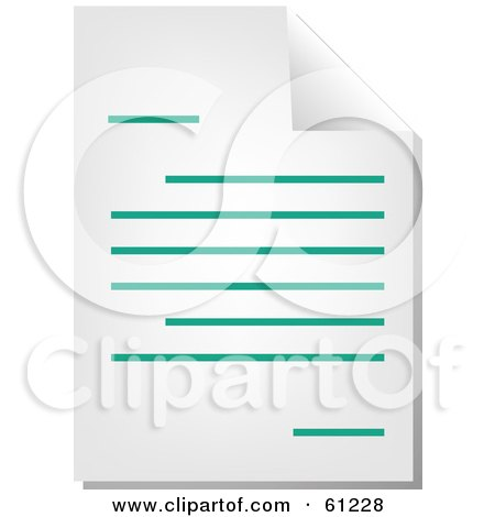 Royalty-free (RF) Clipart Illustration of a Curling Page Of A Teal Word Business Document - Version 2 by Kheng Guan Toh