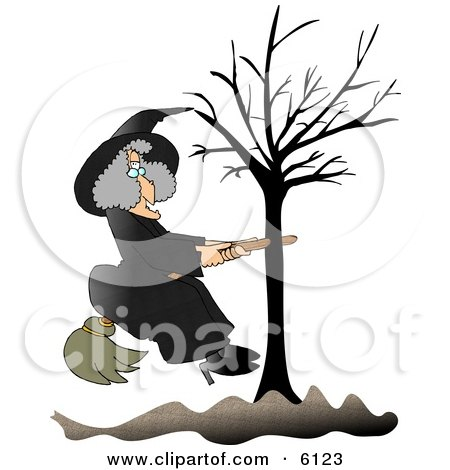 Warty Witch in Black, Sitting on a Broom That is Stuck in a Bare Tree Clipart by djart