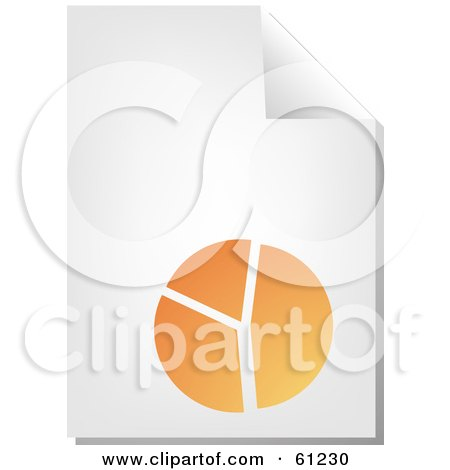Royalty-free (RF) Clipart Illustration of a Curling Page Of An Orange Pie Chart Business Document by Kheng Guan Toh