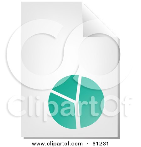Royalty-free (RF) Clipart Illustration of a Curling Page Of A Teal Pie Chart Business Document by Kheng Guan Toh