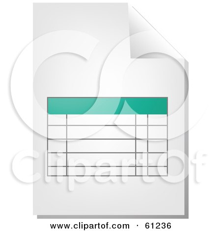 Royalty-free (RF) Clipart Illustration of a Curling Page Of A Teal Spreadsheet Business Document by Kheng Guan Toh