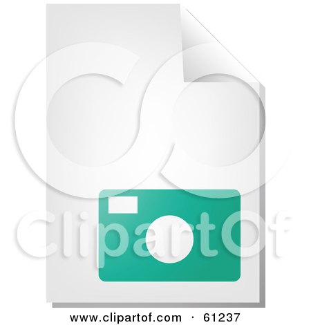 Royalty-free (RF) Clipart Illustration of a Curling Page Of A Teal Camera Business Document by Kheng Guan Toh