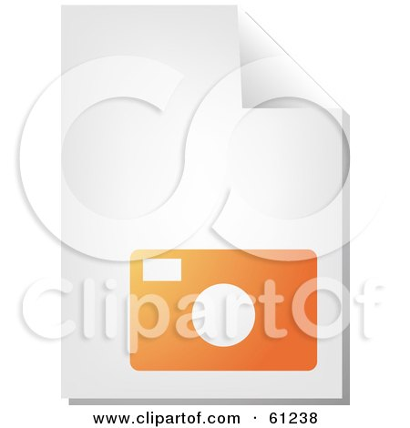Royalty-free (RF) Clipart Illustration of a Curling Page Of An Orange Camera Business Document by Kheng Guan Toh