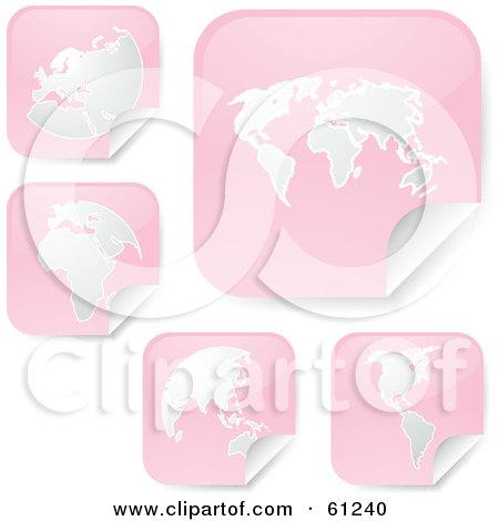 Royalty-free (RF) Clipart Illustration of a Digital Collage Of Peeling Square Pink Atlas Stickers by Kheng Guan Toh
