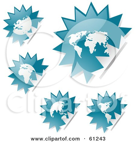 Royalty-free (RF) Clipart Illustration of a Digital Collage Of Peeling Burst Teal Atlas Stickers by Kheng Guan Toh