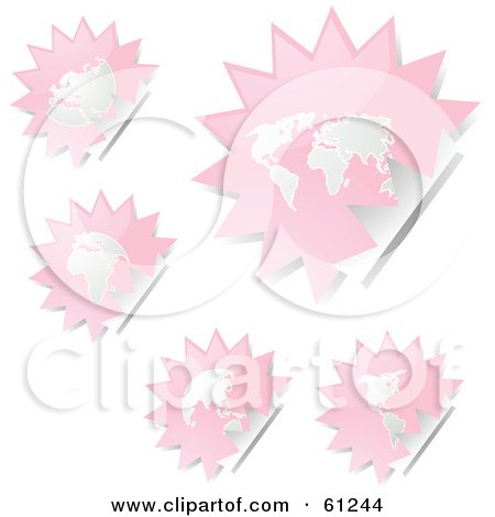 Royalty-free (RF) Clipart Illustration of a Digital Collage Of Peeling Burst Pink Atlas Stickers by Kheng Guan Toh
