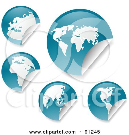 Royalty-free (RF) Clipart Illustration of a Digital Collage Of Peeling Round Teal Atlas Stickers by Kheng Guan Toh