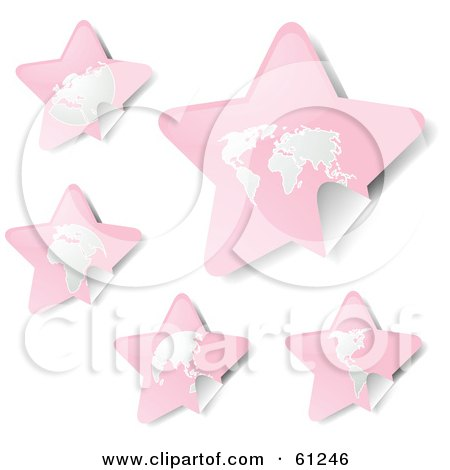 Royalty-free (RF) Clipart Illustration of a Digital Collage Of Peeling Star Pink Atlas Stickers by Kheng Guan Toh