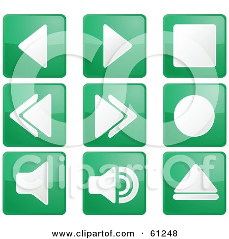 Royalty-free (RF) Clipart Illustration of a Digital Collage Of Green Square Audio Icon Buttons by Kheng Guan Toh