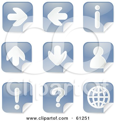 Royalty-free (RF) Clipart Illustration of a Digital Collage Of Blue Arrow Peeling Sticker Icons by Kheng Guan Toh