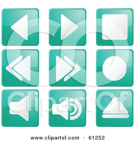 Royalty-free (RF) Clipart Illustration of a Digital Collage Of Teal Square Audio Icon Buttons by Kheng Guan Toh