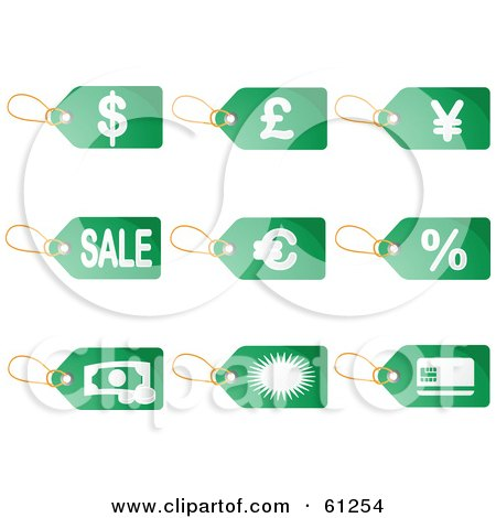 Royalty-free (RF) Clipart Illustration of a Digital Collage Of Green Commerce Price Tags by Kheng Guan Toh