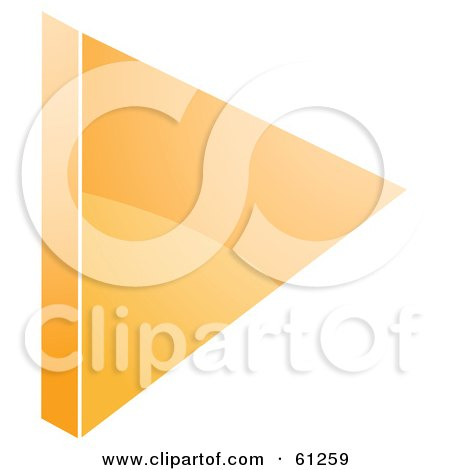 Royalty-free (RF) Clipart Illustration of a 3d Orange Play Arrow Icon - Version 2 by Kheng Guan Toh