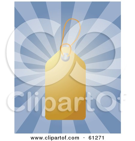 Royalty-free (RF) Clipart Illustration of a Shiny Blank Gold Price Tag On A Bursting Blue Background by Kheng Guan Toh
