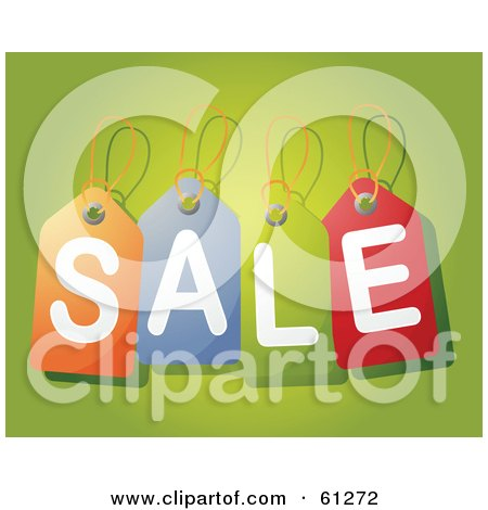Royalty-free (RF) Clipart Illustration of Colorful Price Tags Spelling Sale, Over A Green Background by Kheng Guan Toh