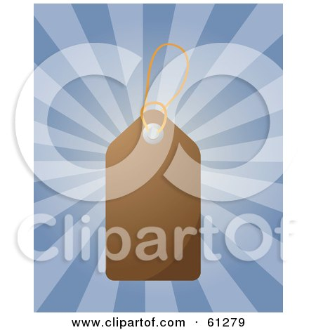 Royalty-free (RF) Clipart Illustration of a Shiny Blank Brown Price Tag On A Bursting Blue Background by Kheng Guan Toh