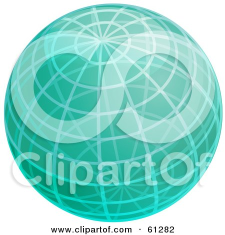 Royalty-free (RF) Clipart Illustration of a Shiny Green 3d Wire Globe by Kheng Guan Toh