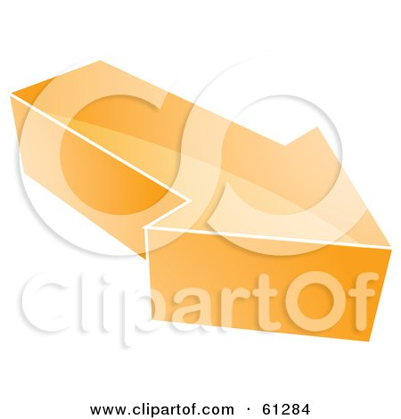 Royalty-free (RF) Clipart Illustration of a 3d Orange Arrow Icon - Version 2 by Kheng Guan Toh