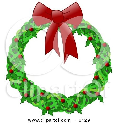 Christmas Wreath With a Red Bow, Holly and Berries Clipart Illustration by djart