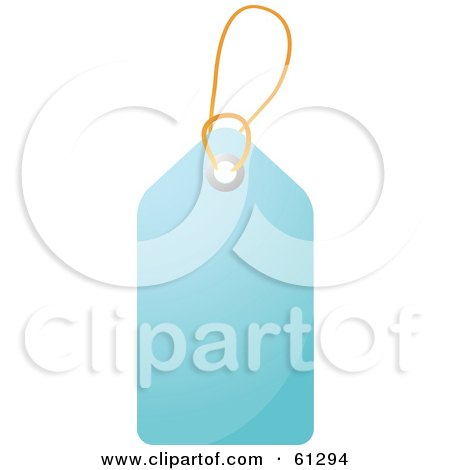 Royalty-free (RF) Clipart Illustration of a Shiny Light Blue Blank Price Tag With A String by Kheng Guan Toh
