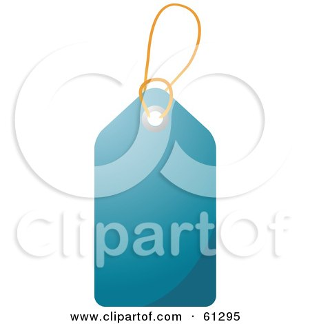Royalty-free (RF) Clipart Illustration of a Shiny Dark Blue Blank Price Tag With A String by Kheng Guan Toh