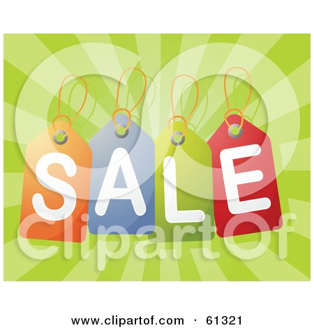 Royalty-free (RF) Clipart Illustration of Colorful Sale Price Tags Over A Bursting Green Background by Kheng Guan Toh