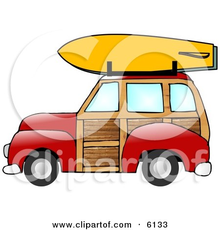 Woody Car With a Surfboard on the Roof Rack Posters, Art Prints
