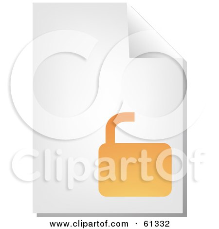 Royalty-free (RF) Clipart Illustration of a Curling Page Of An Orange Open Padlock Business Document by Kheng Guan Toh