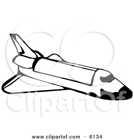 Space Shuttle in Outer Space Clipart Illustration by djart