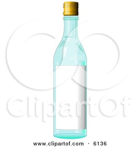 Blue Glass Bottle With a Blank Label on it Clipart Illustration by djart
