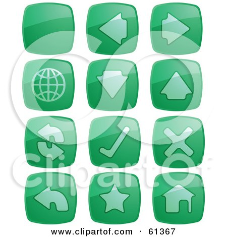 Royalty-free (RF) Clipart Illustration of a Digital Collage Of Green Browser Square Buttons by Kheng Guan Toh