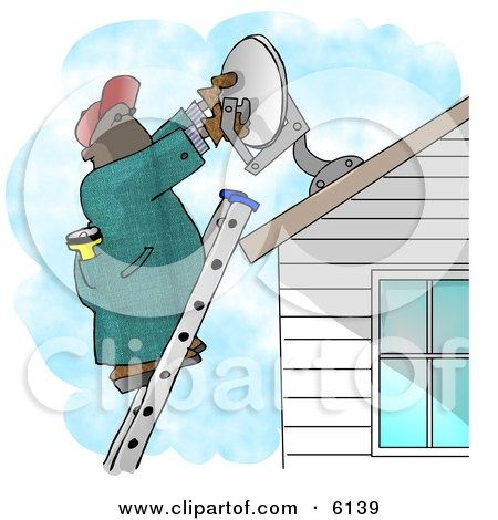 African American Man Installing a Household Satellite Dish Clipart Picture by djart