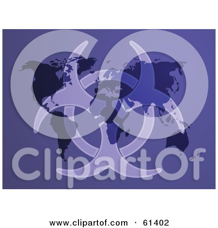 Royalty-free (RF) Clipart Illustration of a Faded Bio Hazard Symbol Over A Purple Atlas Background by Kheng Guan Toh