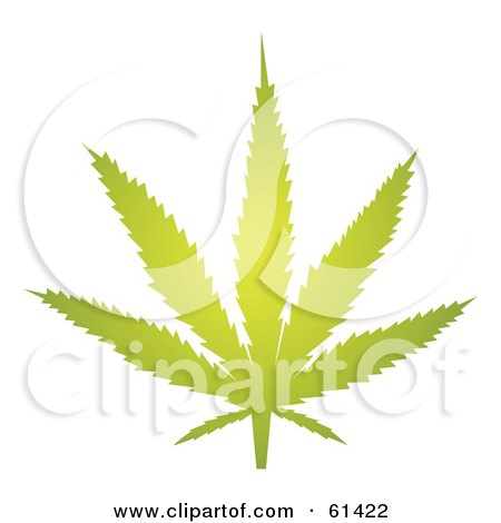 Royalty-free (RF) Clipart Illustration of a Glowing Green Marihuana Leaf by Kheng Guan Toh