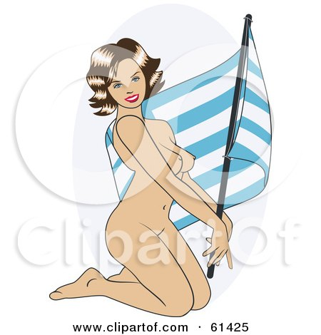 Royalty-free (RF) Clipart Illustration of a Nude Pinup Woman Kneeling And Posing With A Greece Flag by r formidable