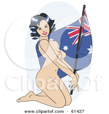Royalty-free (RF) Clipart Illustration of a Nude Pinup Woman Kneeling And Posing With An Australian Flag by r formidable